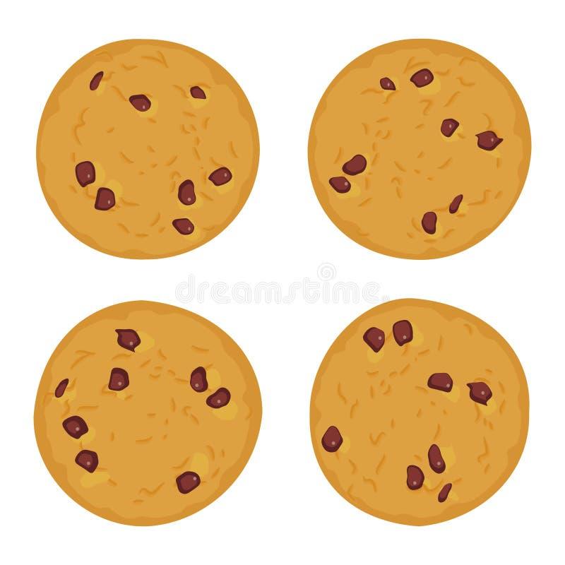 Schokoladensplitterplätzchensatz, frisch gebacken vier Plätzchen lokalisiert auf weißem Hintergrund Helle Farben Vektor stock abbildung