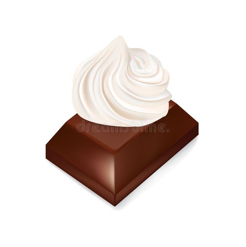 Schokoladenstück mit der Schlagsahne lokalisiert stock abbildung