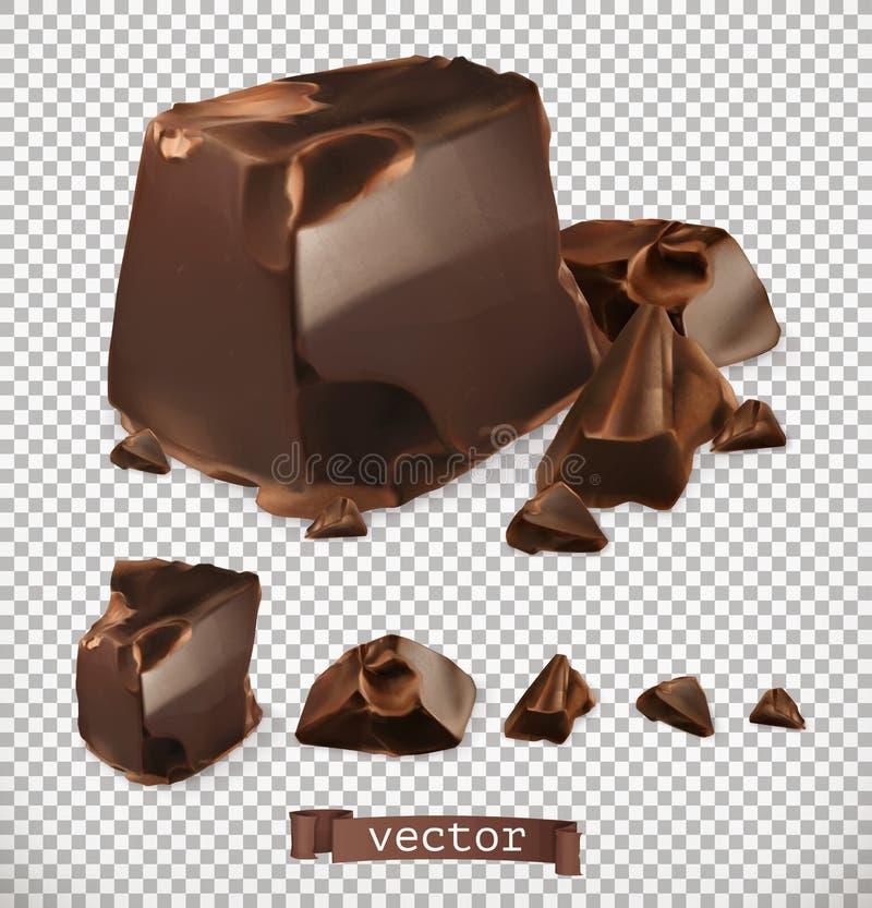 Schokoladenstücke, Vektorsatz lizenzfreie abbildung