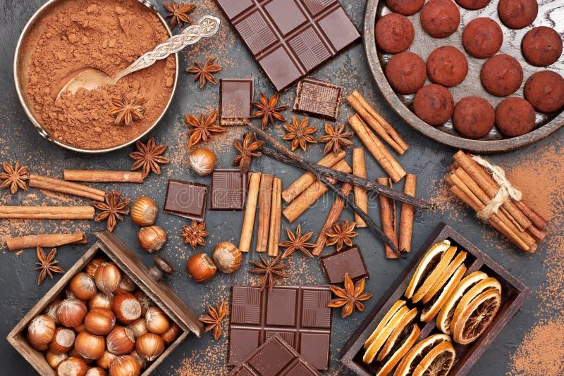 Schokoladentrüffeln mit Schüssel Kakaopulver, schwarzer Schokolade und Haselnüssen auf dunklem Hintergrund lizenzfreie stockfotografie