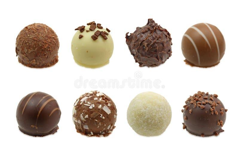 Schokoladentrüffelzusammenstellung stockbilder