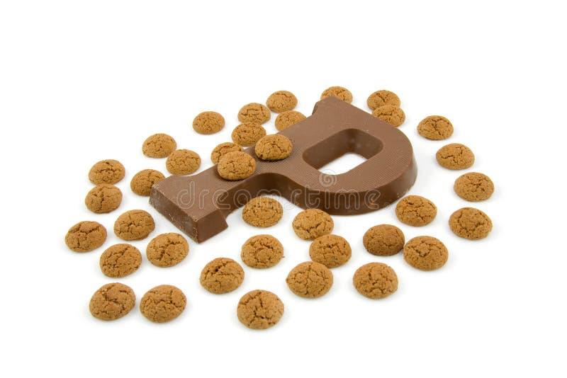 Schokoladenzeichen P für Sinterklaas Party lizenzfreie stockfotos