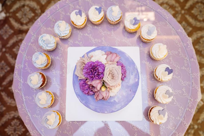 Schokoriegel und Hochzeitstorte Tabelle mit Bonbons, Buffet mit kleinen Kuchen, S??igkeiten, Nachtisch stockfotografie