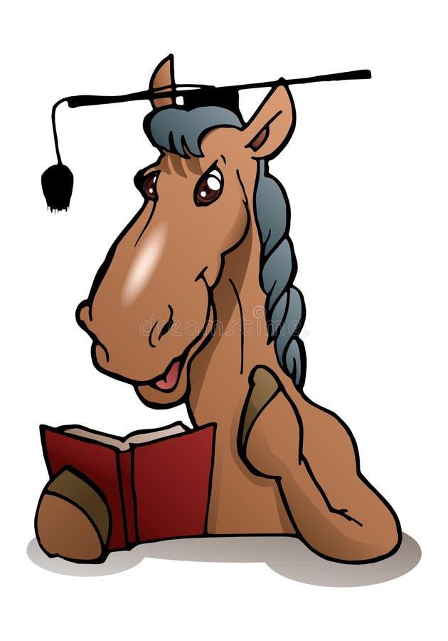 scholar horse wear graduation hat vector illustration