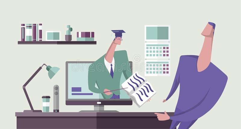 Scholar showing a book to another man from computer monitor in office interior. Online education. Distance teaching. Webinar. Concept vector illustration. Flat stock illustration