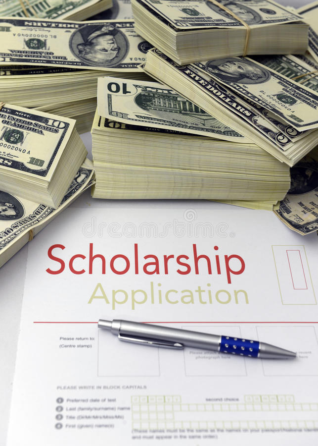 Download Scholarship Application Form And Money Stock Photo - Image of currency, apply: 28379850