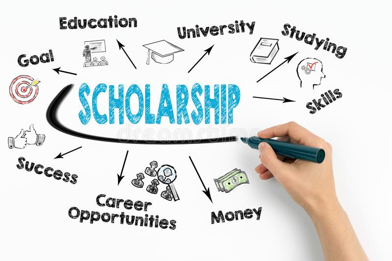 Scholarship Concept. Chart with keywords and icons on white background.  royalty free stock photos