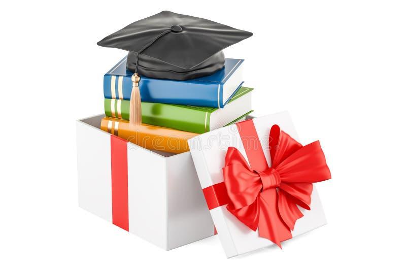Scholarship for education in gift concept. 3D rendering stock illustration