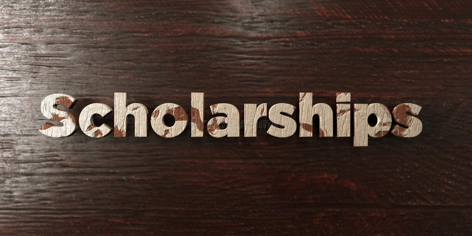 Scholarships - grungy wooden headline on Maple - 3D rendered royalty free stock image vector illustration