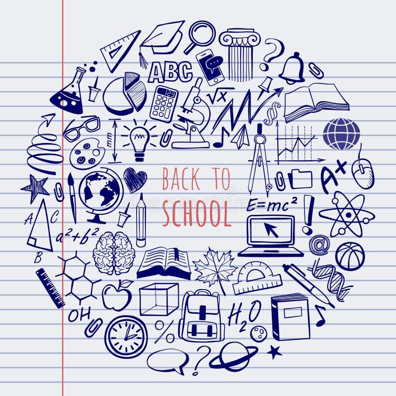Scholensymbolen en krabbels royalty-vrije illustratie