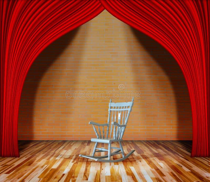 Schommelstoel op stadium rood gordijn voor bakstenen muur en houten vloer met verlichting royalty-vrije stock afbeeldingen