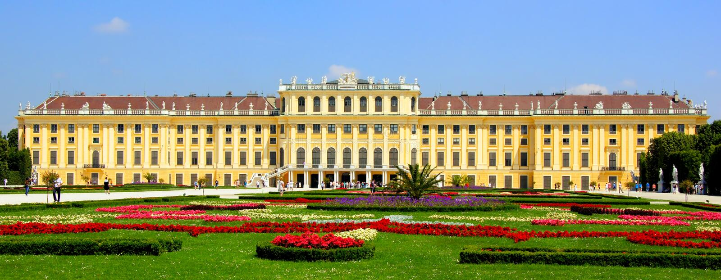 Schonbrunnpaleis, Wenen, Oostenrijk royalty-vrije stock foto's