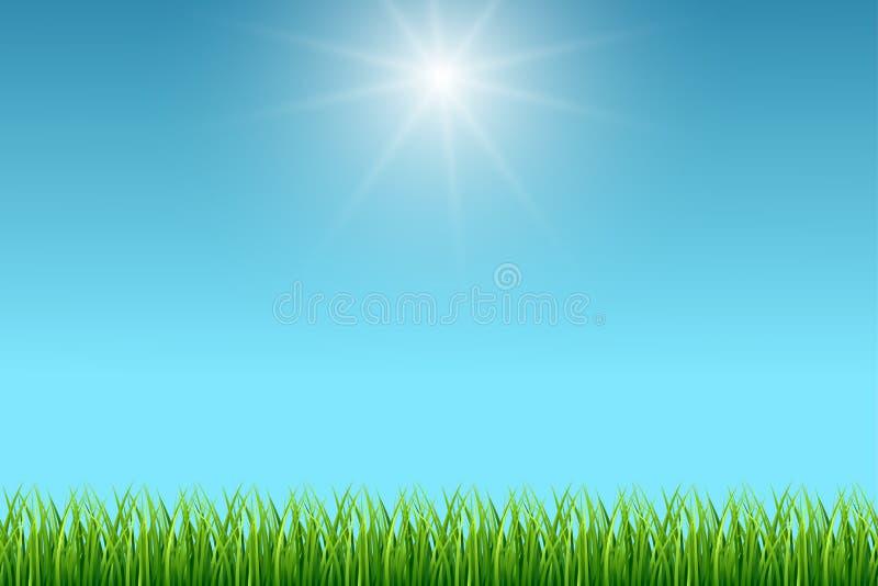 Schone blauwe hemel en groene gras vectorachtergrond royalty-vrije illustratie
