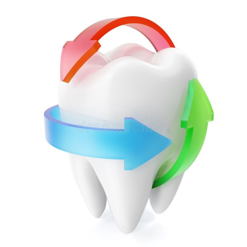 Schone en glanzende realistische die tandbescherming op witte achtergrond, Beschermingsconcept wordt geïsoleerd het 3d teruggeven stock illustratie