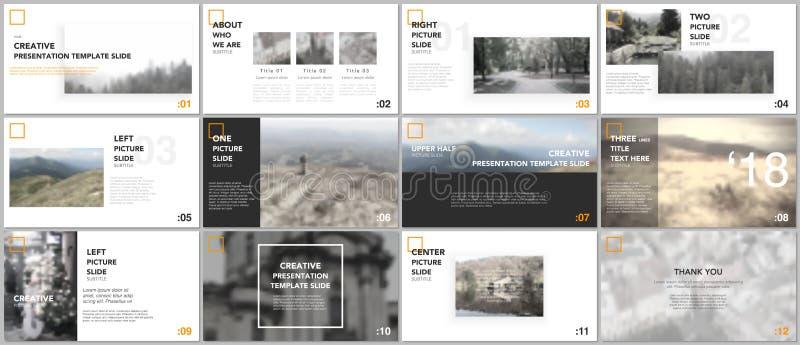 Schone en minimale presentatiemalplaatjes Presentatiedia's voor vlieger, pamflet, brochure, rapport royalty-vrije illustratie