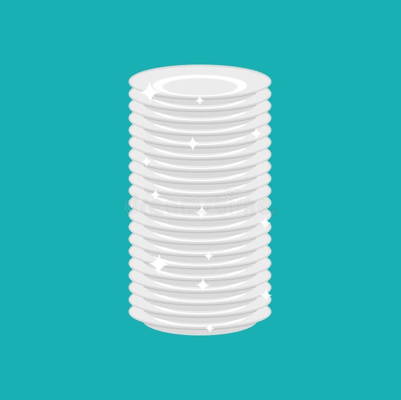Schone geïsoleerde platenstapel verse schotels Vector illustratie stock illustratie