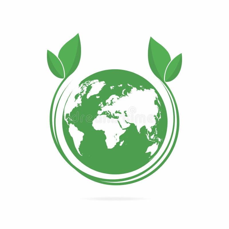 Schone groene wereld Het symbool van de Ecowereld, pictogram Eco vriendschappelijk concept voor bedrijfembleem stock illustratie