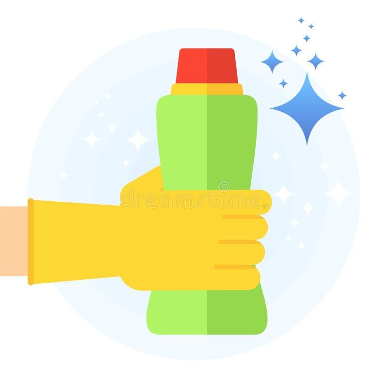 Schone hand met reinigingsmiddel royalty-vrije illustratie