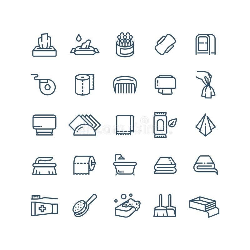 Schone handen en de antiseptische pictogrammen van de servetten vectorlijn Sanitaire en hygiënesymbolen royalty-vrije illustratie
