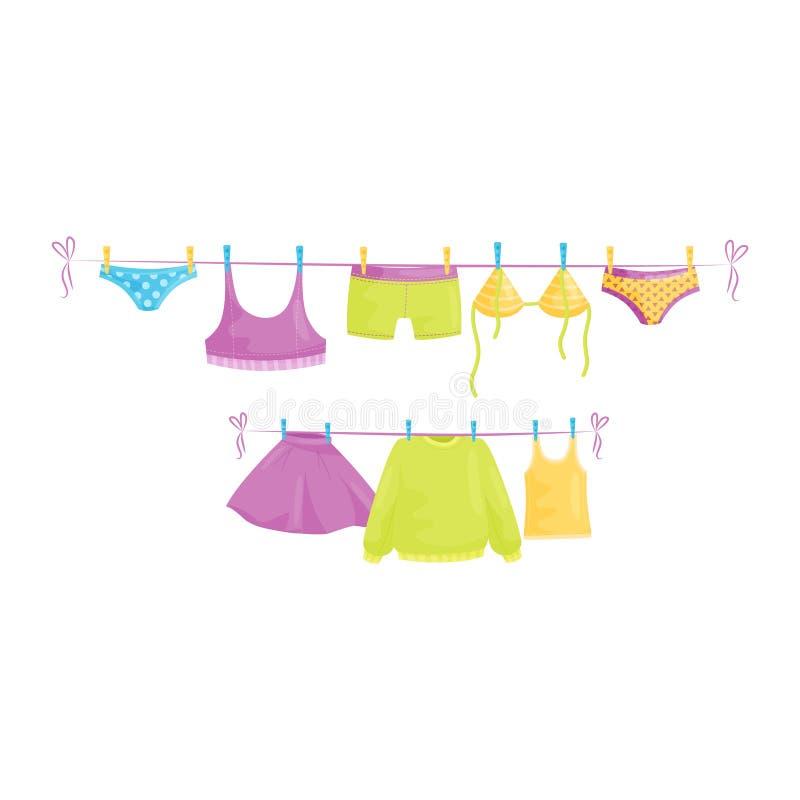 Schone kleren die op kabels hangen Vrouwelijk kledingstuk Wasserijthema Vlak vectorontwerp vector illustratie