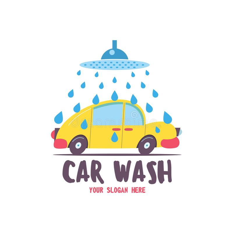Schone machine, autowasserette met spons en slang Auto in beeldverhaalstijl bij de autowasserette embleem stock illustratie