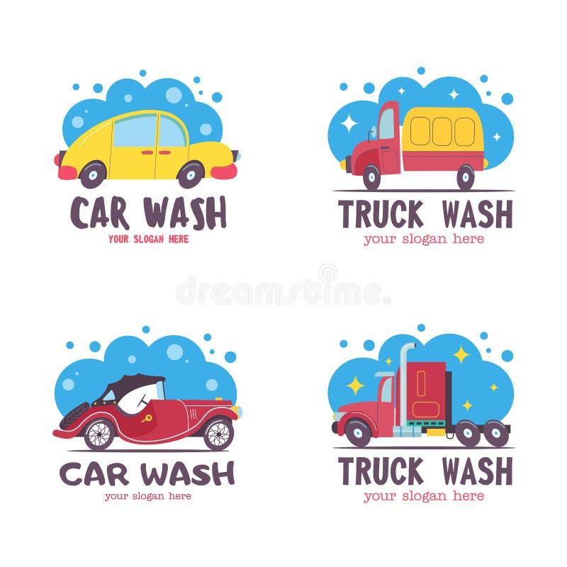 Schone machine, autowasserette met spons en slang Auto in beeldverhaalstijl bij de autowasserette embleem royalty-vrije illustratie