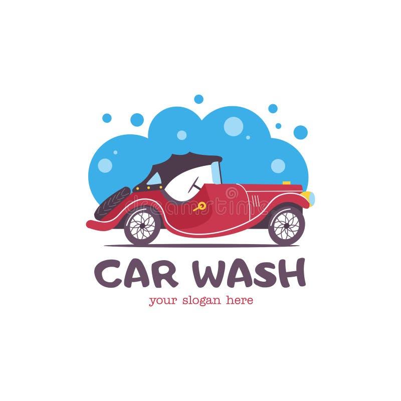 Schone machine, autowasserette met spons en slang Auto in beeldverhaalstijl bij de autowasserette embleem vector illustratie