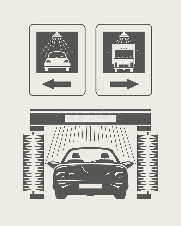 Schone machine, autowasserette met spons en slang Reeks pictogrammen stock illustratie