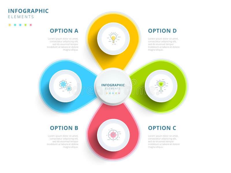 Schone minimalistic zaken 4 wi van de grafiekinfographics van het stapproces stock illustratie