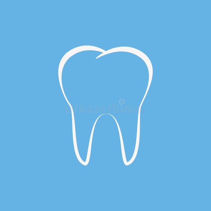 Schone Tanden die op blauwe achtergrond worden ge?soleerd Vector illustratie royalty-vrije stock afbeeldingen