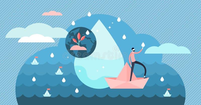 Schone water vectorillustratie Vlak uiterst klein natuurlijk en zuiver personenconcept stock illustratie