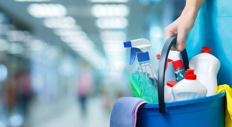 Schonere dame met een emmer en schoonmakende producten stock afbeelding