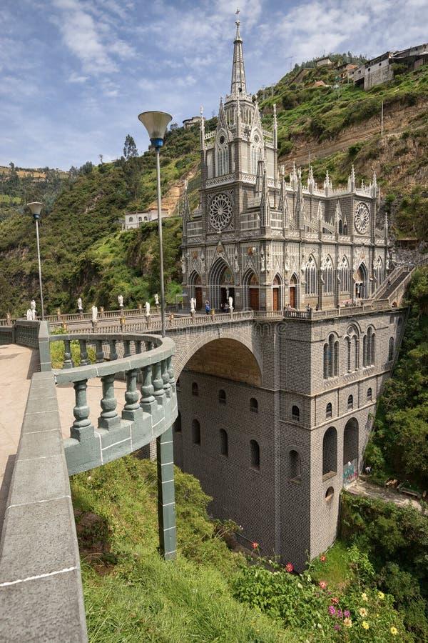 Schongebiet Las Lajas in Ipiales Kolumbien ein populärer Pilgerfahrtbestimmungsort lizenzfreie stockfotografie