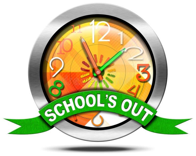 School's έξω - εικονίδιο μετάλλων με το ρολόι διανυσματική απεικόνιση