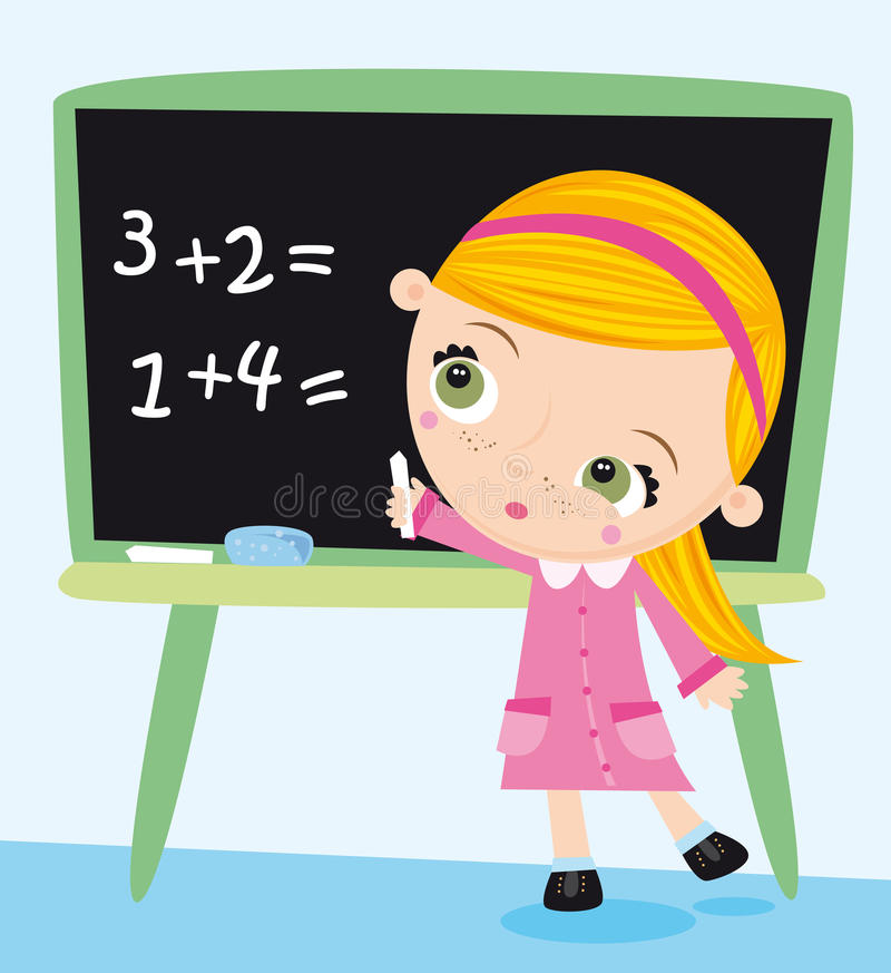 At school. Illustration of little girl doing her maths