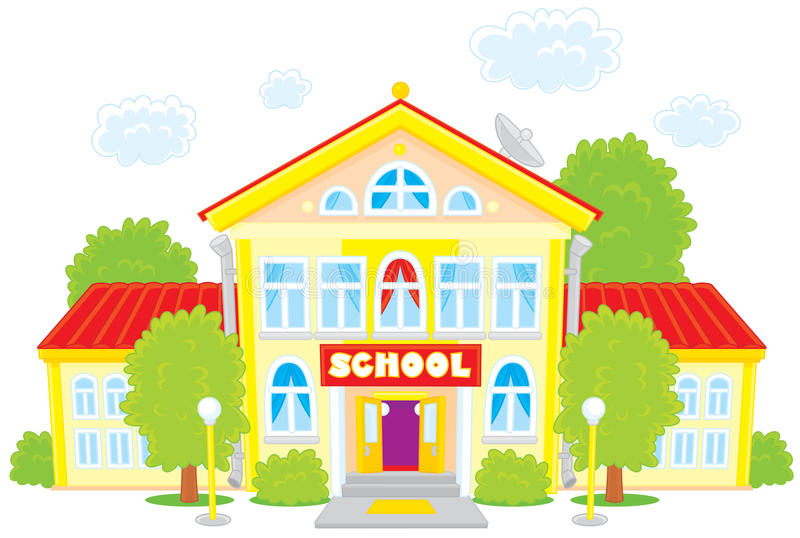 School. Vector clip-art illustration of a school building, frontal projection view