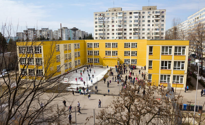 School. Renovated by Program Educational Infrastructure Rehabilitation in Bucharest, financed by the European Investment Bank (EIB).Bucharest, Romania stock photos