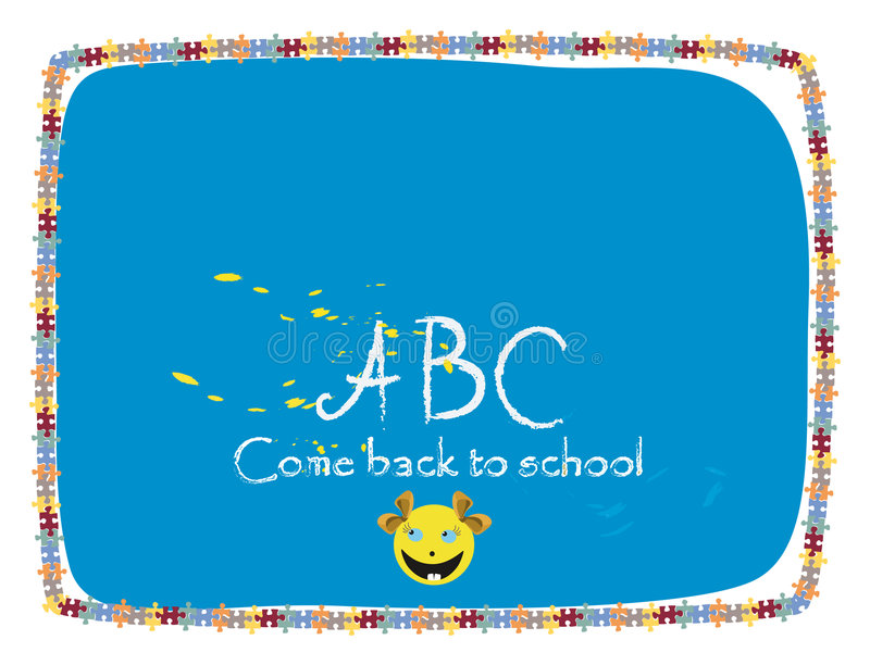 School. Come back to school-class board with girl smile royalty free illustration