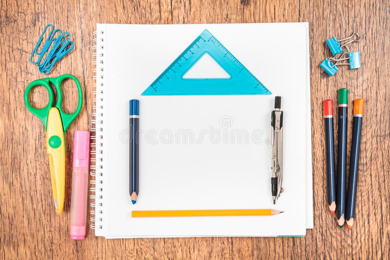 Download School Accessories On A Desk Stock Image   Image Of Compass,  Empty: 42705275