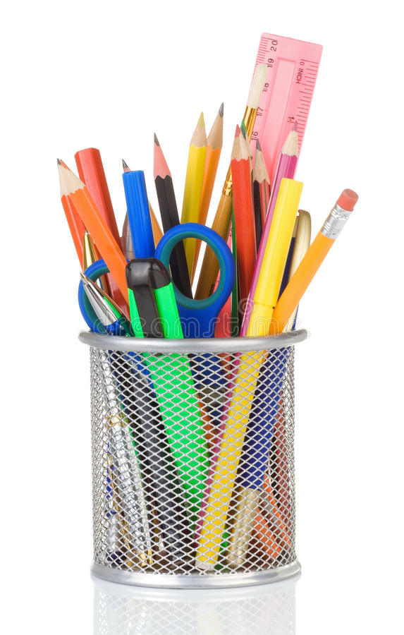School accessories in holder on white royalty free stock images