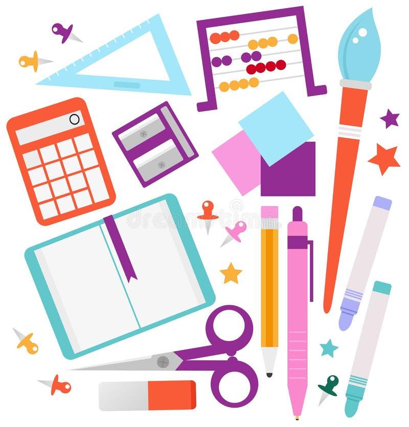 Download School accessories set stock vector. Image of chalk, clip - 26460822