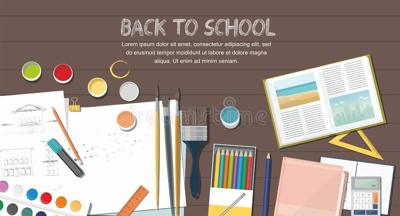 School accessories on wooden background.  Top view. Back to school concept. stock illustration