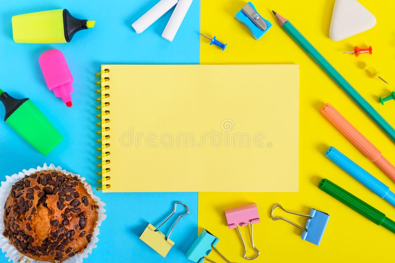 School Accessories On A Yellow Background  Back To School