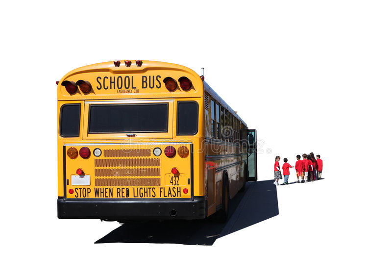 School Aged Children Departing a School Bus royalty free stock photos