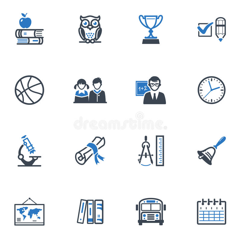 Free School And Education Icons, Set 3 - Blue Series Royalty Free Stock Images - 29425749