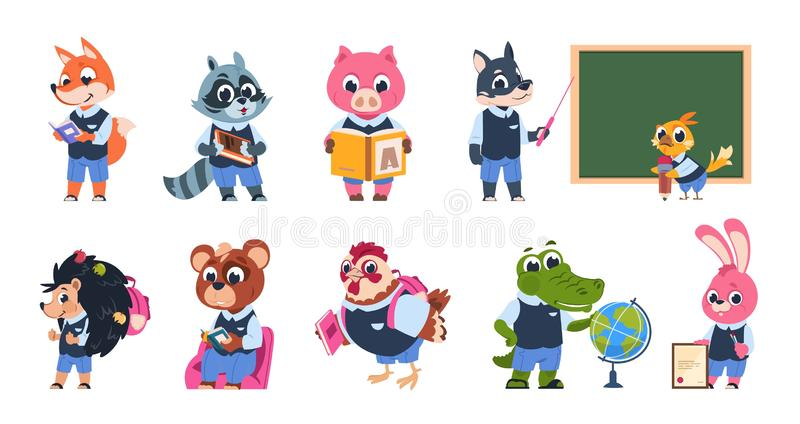 School animal characters. Cute cartoon animal kids at school with books and backpacks reading and studying. Vector funny royalty free illustration