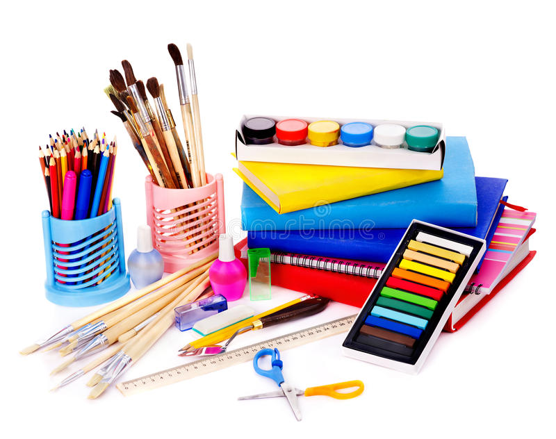 School art supplies stock photo image of brush items for Art and craft shop