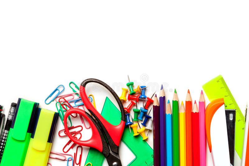 School and art supplies isolated on white background. Top view royalty free stock photo
