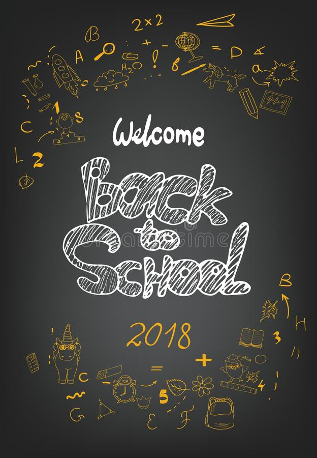 School background. Back to school chalk background with hand drawn doodles. Lettering for banners, posters, flyers stock illustration