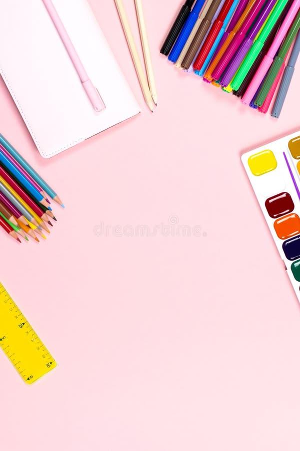 School supplies arrangement. Back to school concept, copy space stock photo